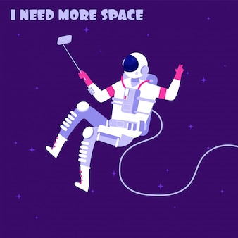 Astronaut in weightless. spaceman in outer space. i need more space astronautics vector concept
