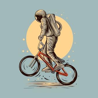 Астронавт на колесах езда на bmx дизайн иллюстрации