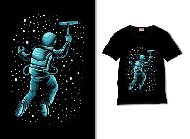 Астронавт вытирает звезды с помощью дворника иллюстрации с дизайном футболки