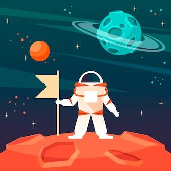 宇宙の新しい惑星に旗を掲げた宇宙飛行士。