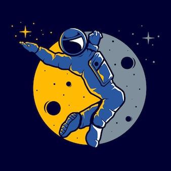 Астронавт с забавным стилем наведения