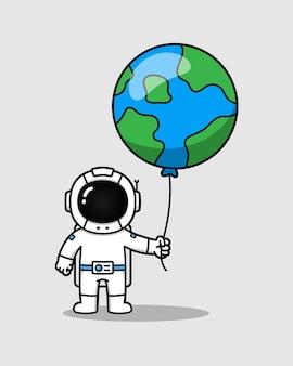 気球地球を持つ宇宙飛行士
