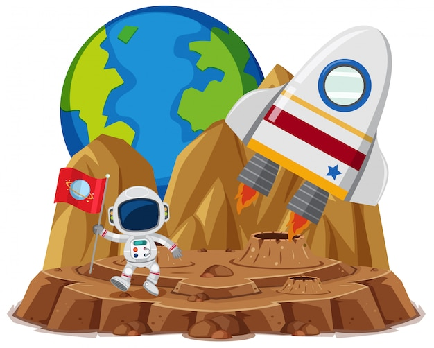 Astronaut with flag in the planet cartoon style on white