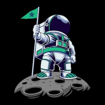 Астронавт с зеленым флагом векторная иллюстрация на изолированном объекте