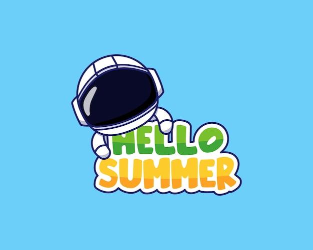 こんにちは夏の挨拶バナーを持つ宇宙飛行士