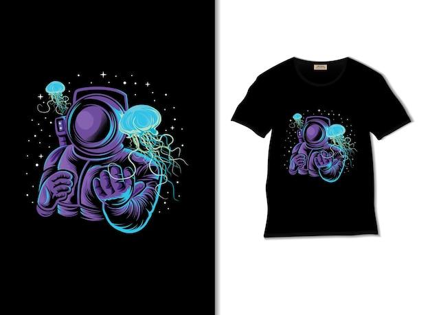 Астронавт с иллюстрацией медузы с дизайном футболки
