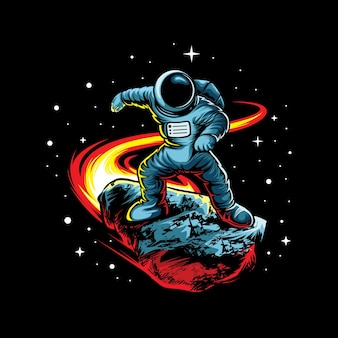 Astronaut with meteor isolated on black