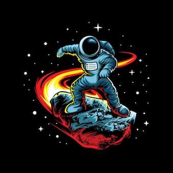 黒に分離された流星を持つ宇宙飛行士