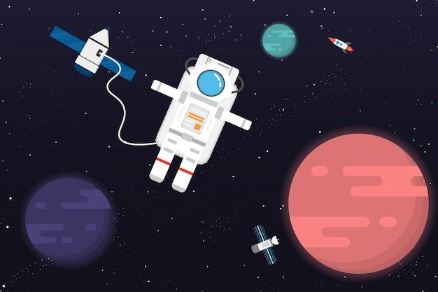 宇宙飛行士と惑星のデザイン。ベクトルとイラスト
