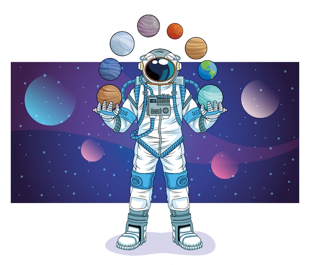 Астронавт с планетами в космосе символов иллюстрации