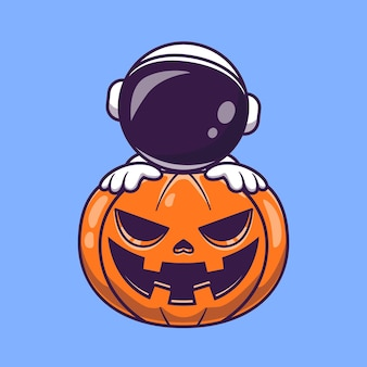 Astronaut with pumpkin halloween cartoon vector icon illustration. science holiday icon concept isolated premium vector. flat cartoon style