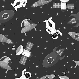 Astronaut with rocket and alien seamless pattern