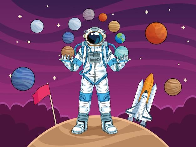Астронавт с ракетой и планетами в космосе иллюстрации