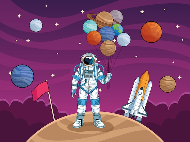 Astronaut with rocket and planets in the space  illustration
