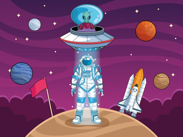 Astronaut with ufo and planets in the space  illustration