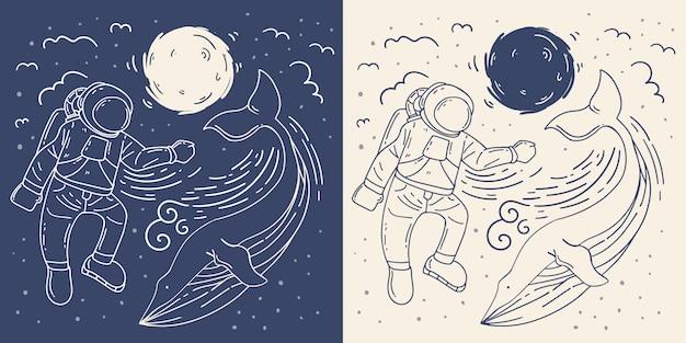Astronaut with whale mono line illustration.