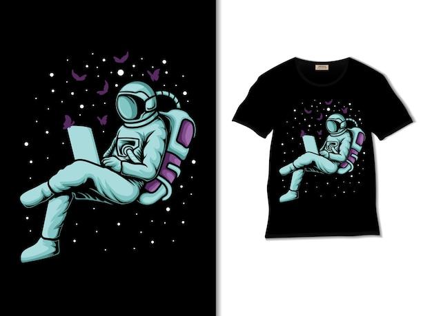 宇宙飛行士は、tシャツのデザインで宇宙のイラストで蝶を操作します