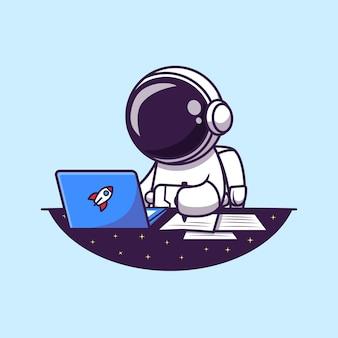 ノートパソコンに取り組んでいて、漫画のイラストを書いている宇宙飛行士。分離された科学ビジネスコンセプト。フラット漫画スタイル