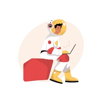 宇宙飛行士は宇宙服を着たラップトップの科学者に取り組んでいます