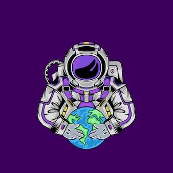 Astronaut and the world illustration