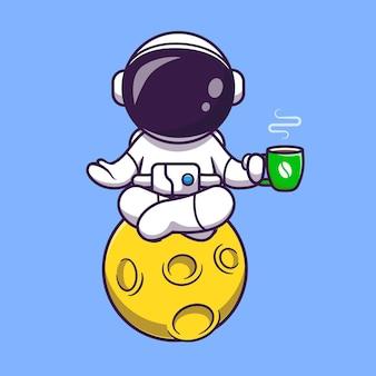 コーヒー漫画ベクトルアイコンイラストと月の宇宙飛行士ヨガ。科学スポーツアイコンの概念分離プレミアムベクトル。フラット漫画スタイル