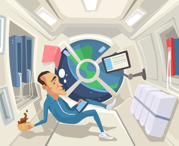 Astronaut in zero gravity flat cartoon illustration