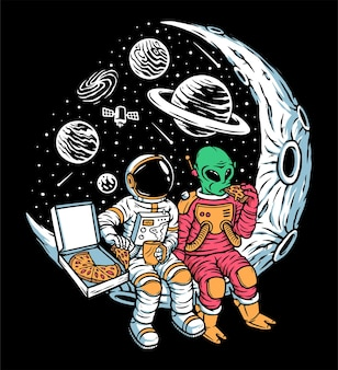Astronauts and aliens chill together on the moon illustration