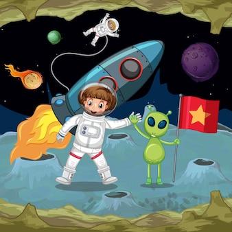 우주 비행사와 우주에서 손을 잡고 외계인