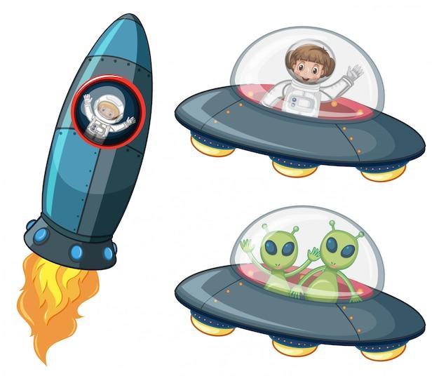 宇宙船の宇宙飛行士と宇宙人