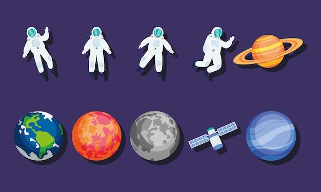 Набор иконок астронавтов и планет