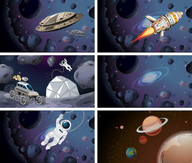 우주 비행사 및 우주선 장면