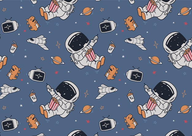 宇宙飛行士とテレビのパターン