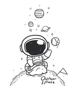 Astronauts carry planets in outer space