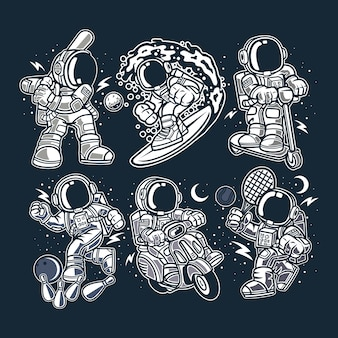Astronauts cartoon character