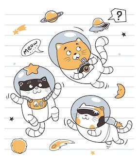 The astronauts cats doodle art Premium Vector
