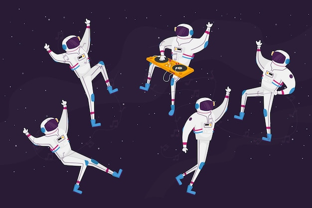 Astronauts characters dancing with dj turntable in open space