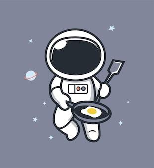 卵を調理する宇宙飛行士