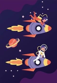 Astronauts couple in rockets space scene illustration