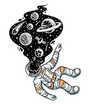 宇宙飛行士は宇宙のイラストで死ぬ
