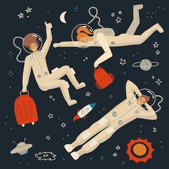 Космонавты, одетые в шлем и костюм в открытом космосе