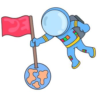 Астронавты исследуют космос, отправляются на планеты, векторная иллюстрация искусства. каракули изображение значка каваи.