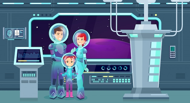 Astronauts family flat illustration. cheerful mother, father and daughter in spacesuits cartoon characters. happy couple with kid on cosmic adventure. space explorers, futuristic tourism.