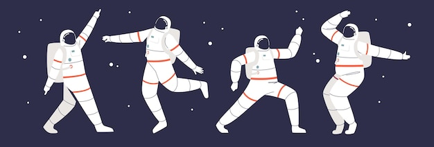 Astronauts floating in open space: set of funny spacemen wearing space suits in different poses over galaxy background. cartoon flat vector illustration