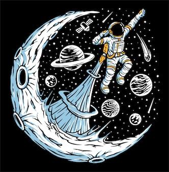 Astronauts flying illustration