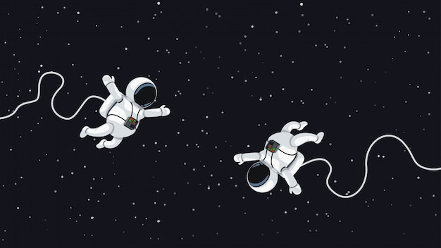Космонавты летают в космосе