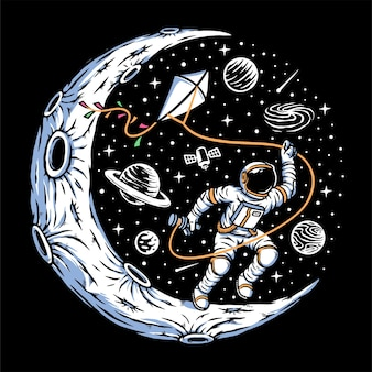 달에 연을 날리는 우주비행사