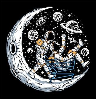 月のイラストを楽しんでいる宇宙飛行士