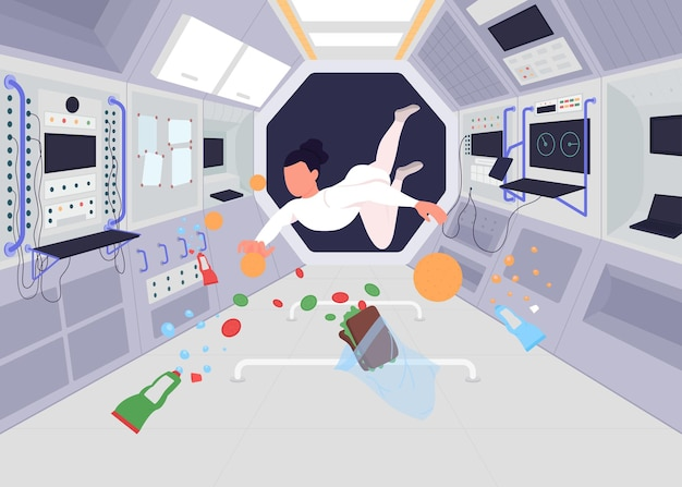宇宙ステーション内の宇宙飛行士フラットカラーイラスト