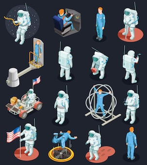 Astronauts isometric characters set