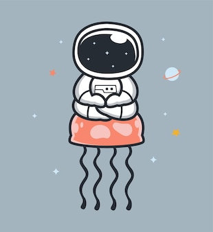 Astronauts and jellyfish in space